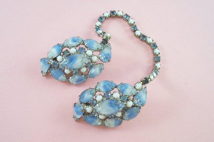 Vintage Blue Givre Milk Glass Rhinestone Sweater Guard Chatelaine