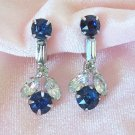 Vintage Sapphire Blue Rhinestone Earrings Screw Back Dangling Baguette and Marquis Rhinestones