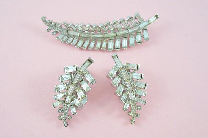 Vintage Sterling Rhinestone Brooch Earrings Demi Set Leaf Design