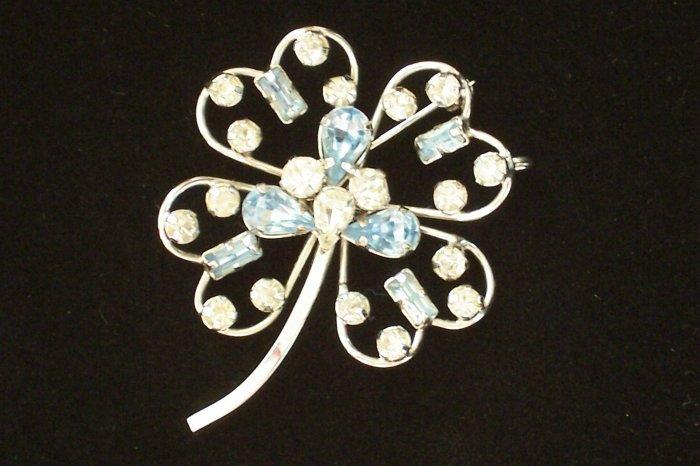 Vintage Star Art Sterling Blue Rhinestone Brooch Pendant Four Leaf Clover Design
