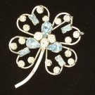 Vintage Star Art Sterling Blue Rhinestone Brooch Pendant Four Leaf Clover Design