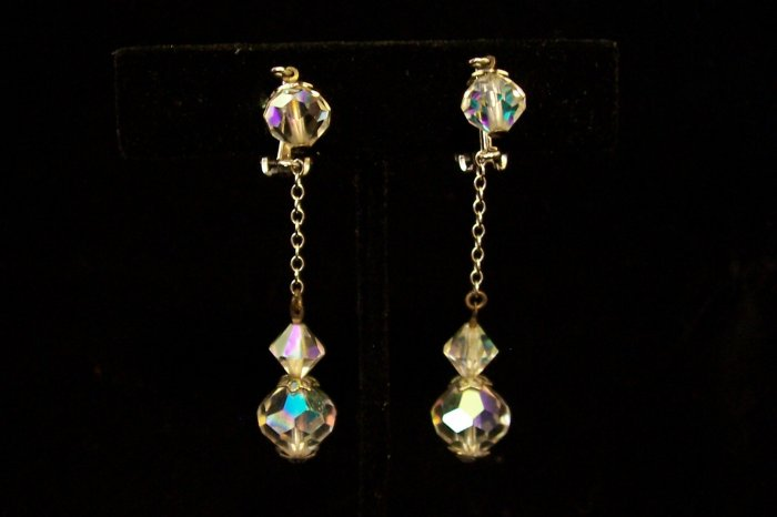 Vintage Lewis Segal Crystal Aurora Borealis Drop Earrings