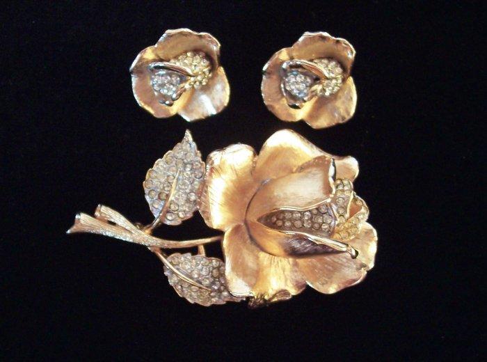 Vintage Rhinestone Rose Brooch and Earrings Demi Pave Set
