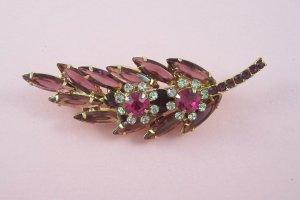 Vintage Juliana Pink Purple Amethyst Rhinestone Feather Brooch Delizza and Elster