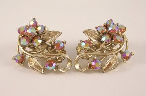 Vintage Topaz AB Aurora Borealis Rhinestone Earrings Floral Design
