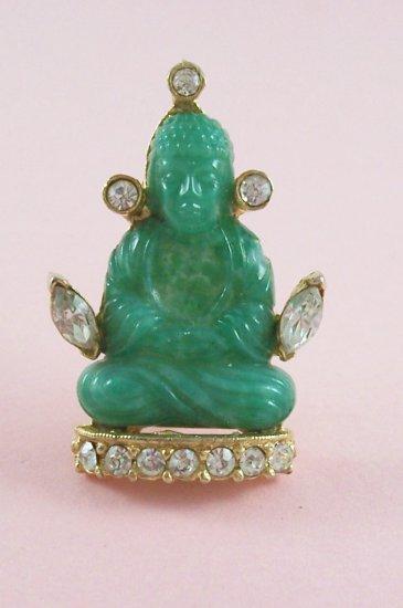 Vintage Hattie Carnegie Buddha Brooch Jade Green Glass Rhinestone