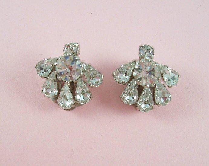 Vintage Austria Rhinestone Crystal Earrings Clip Back Classic Design