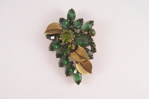 Vintage Green Rhinestone Brooch Open Back Marquis Shape Rhinestones Textured Leaves