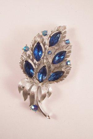 Vintage Lisner Blue Rhinestone Aurora Borealis Brooch Signed Flashy Floral Bouquet
