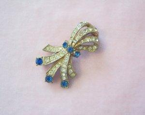 Vintage Blue Rhinestone Ribbon Bow Brooch Pave Set Stones