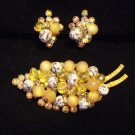 Vintage Juliana Topaz Beaded Dangles Rhinestone Brooch Earring Demi Set