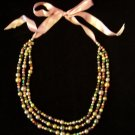 Multi Strand Pastel Glass Bead Necklace Pink Ribbon Tie
