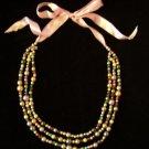 Multi Strand Pastel Glass Bead Necklace Pink Ribbon Tie