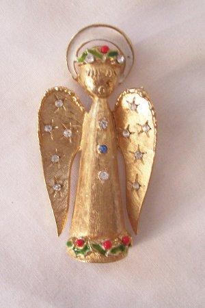 Vintage ART Signed Christmas Angel Brooch Rhinestone Accents