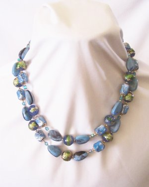 Vintage Two Strand Blue and Green Beaded Necklace Made in Hong Kong