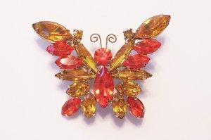 Vintage D&E Juliana Topaz Hyacinth Rhinestone Butterfly Brooch