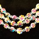Vintage Margarita Crystal Multi Strand Necklace Rhinestone Clasp