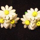 Vintage West Germany Glass Petal White Flower Earring Screw Back Yellow Bead Center