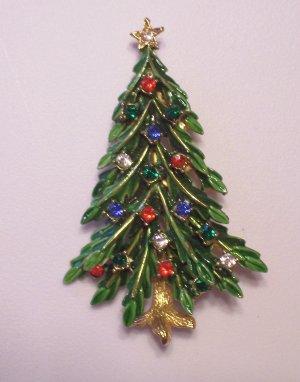 Vintage Art Green Enamel Rhinestone Christmas Tree Brooch Multi Color Stones