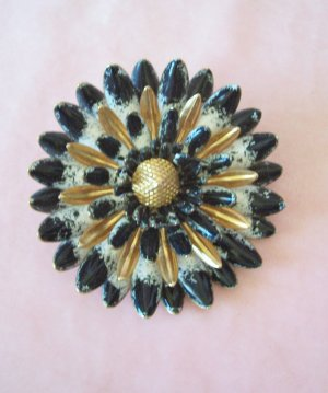 Vintage Black White and Gold Enamel Flower Brooch Raised Petals