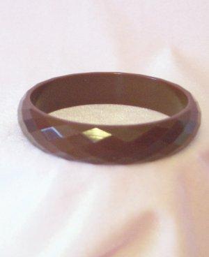 Vintage Chocolate Brown Faceted Bakelite Bangle Bracelet