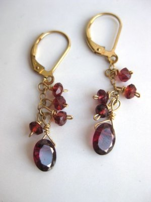 Garnet and gold leverback artisan earrings