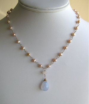 Pearl, rose quartz, chalcedony handmade necklace