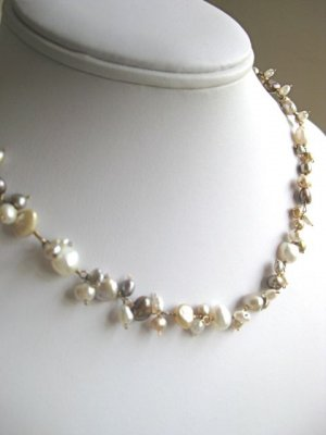 Handmade artisan cluster pearl necklace wire wrapped white mocha cream gray