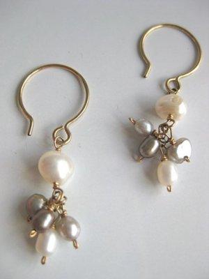 Handmade artisan pearl dangle earrings freshwater cluster on gold filled hoops