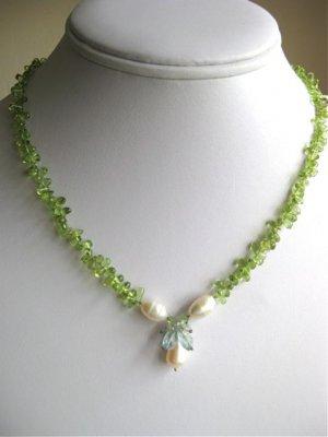 Handmade artisan peridot, pearl aquamarine gemstone cluster necklace on silk