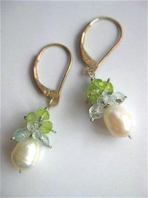 Handmade artisan peridot aquamarine pearl cluster sterling earrings
