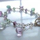 sterling silver bracelet flourite drops dangles handmade