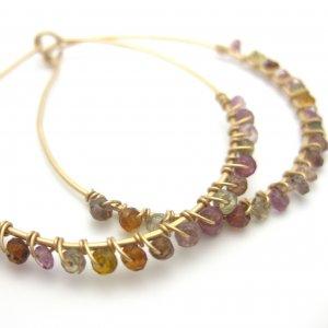 Sapphire gemstone earrings tundra gold hoops handmade