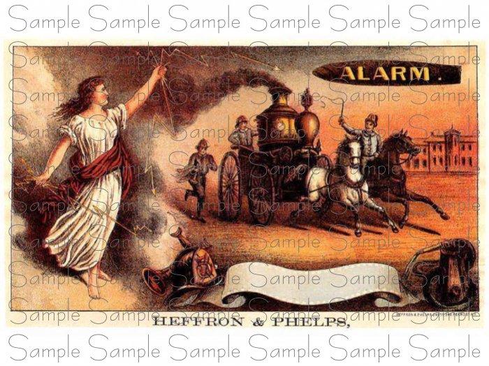 Vintage Alarm Cigar Box Art Printable Digital Ephemera Scrapbooking Altered Art