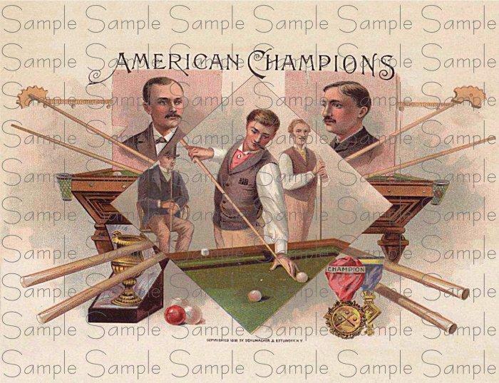 Vintage American Champions Digital Cigar Art Ephemera Scrapbooking Altered Art