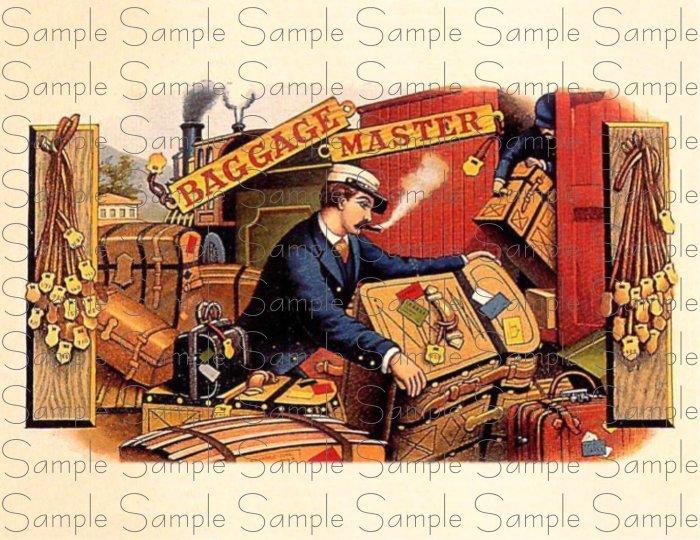 Vintage Baggage Master Digital Cigar Box Art Ephemera Scrapbooking Altered Art