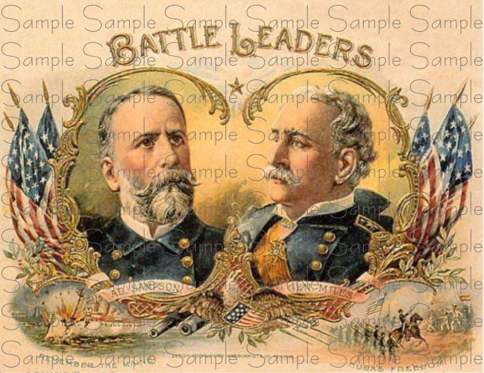 Vintage Battle Leaders Digital Cigar Art Ephemera Scrapbooking Altered Art