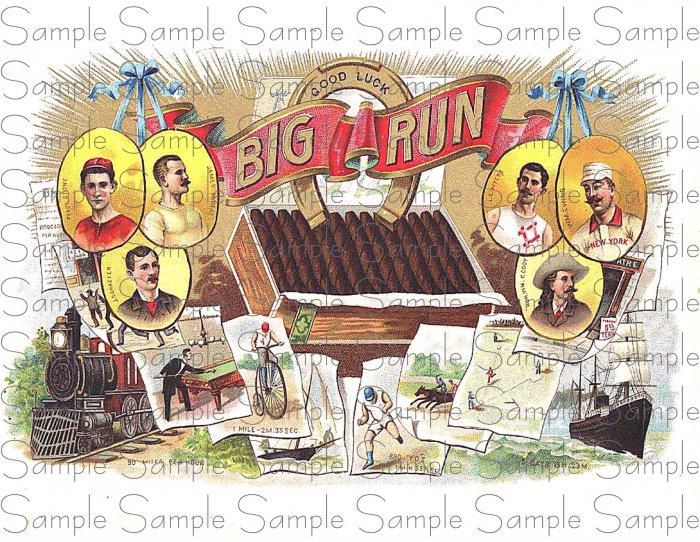 Vintage Big Run Digital Cigar Art Ephemera Scrapbooking Altered Art