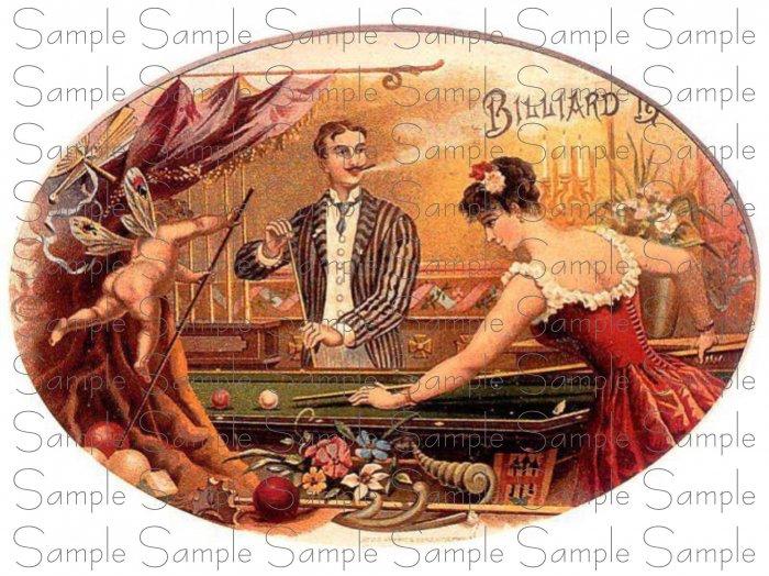 Vintage Billiard Digital Cigar Art Ephemera Scrapbooking Altered Art
