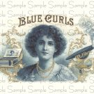 Blue Curls Digital Vintage Cigar Art Ephemera Scrapbooking Altered Art