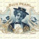 Blue Pearl Digital Vintage Cigar Art Ephemera Scrapbooking Altered Art