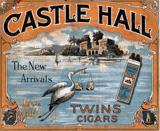 Castle Hall Digital Vintage Cigar Art Ephemera Scrapbooking Altered Art