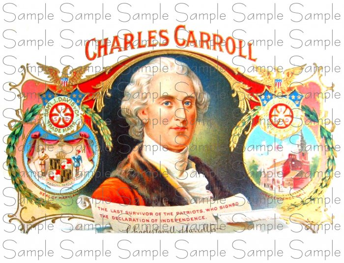 Charles Carroll Digital Vintage Cigar Art Ephemera Scrapbooking Altered Art