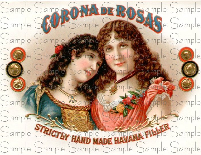Coron De Rosas Digital Vintage Cigar Art Ephemera Scrapbooking Altered Art