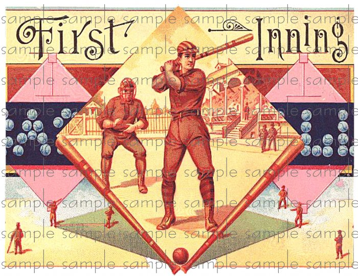 First Inning Digital Vintage Cigar Art Ephemera Scrapbooking Altered Art