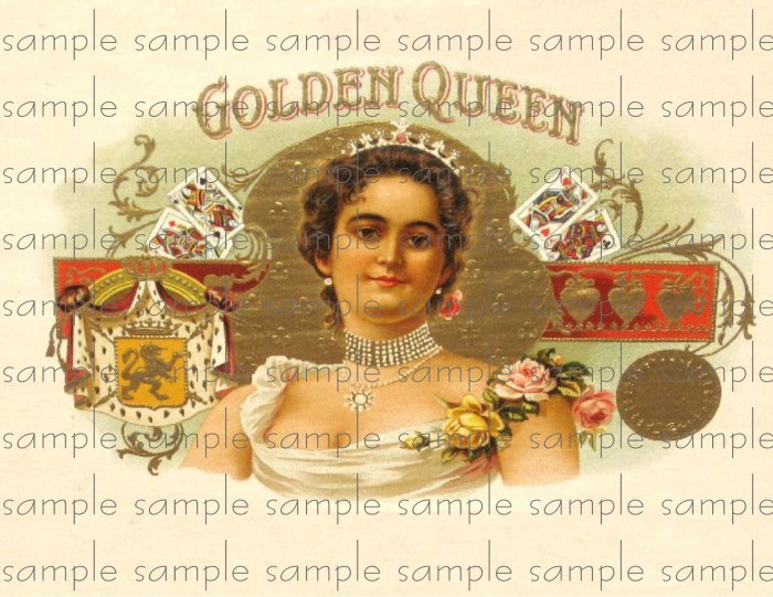 Golden Queen Vintage Digital Cigar Box Art Ephemera Scrapbooking Altered Art