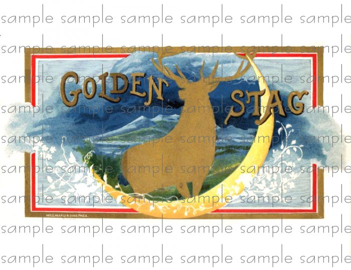 Golden Stag Vintage Digital Cigar Box Art Ephemera Scrapbooking Altered Art