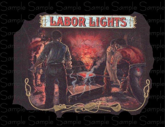 Labor Lights Vintage Digital Cigar Box Art Ephemera Scrapbooking Altered Art Decoupage