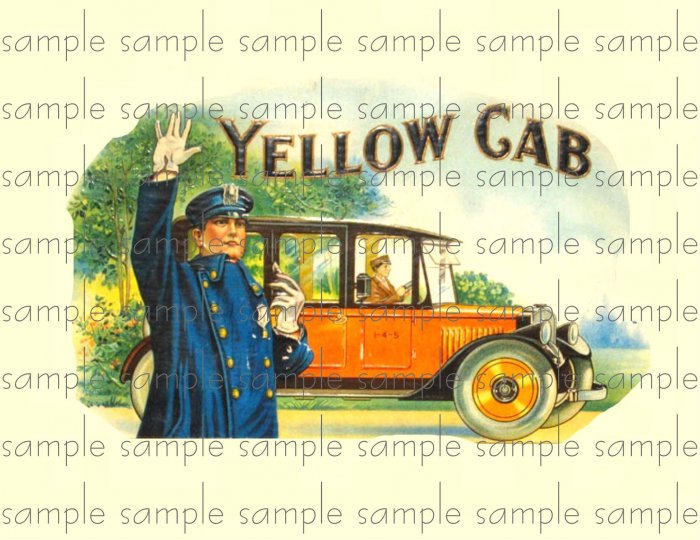 Yellow Cab Vintage Digital Cigar Box Art Ephemera Scrapbooking Altered Art Decoupage