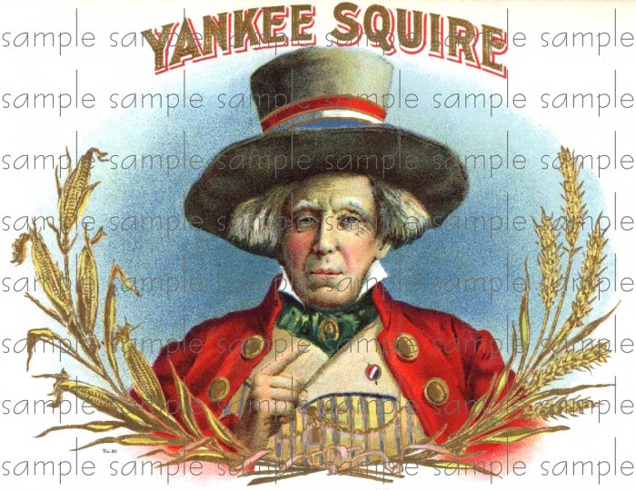 Yankee Squire Vintage Digital Cigar Box Art Ephemera Scrapbooking Altered Art Decoupage
